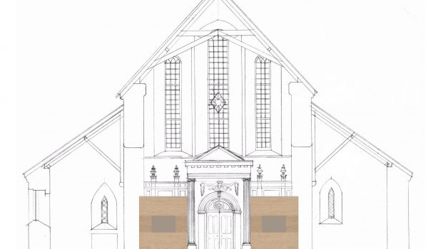 Proposed internal elevation for St Coleman's Cathedral conservation project in Cloyne, Co. Cork.