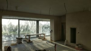 Interior detail shot of Home kitchen extension project currently under construction in Gortroe