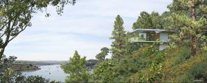 External view of proposed pavilion home project overlooking Kinsale Bay, Cork.