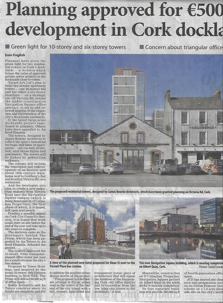 """Irish Examiner Article, """"Planning Approved for €500 million development in Cork Docklands"""""""